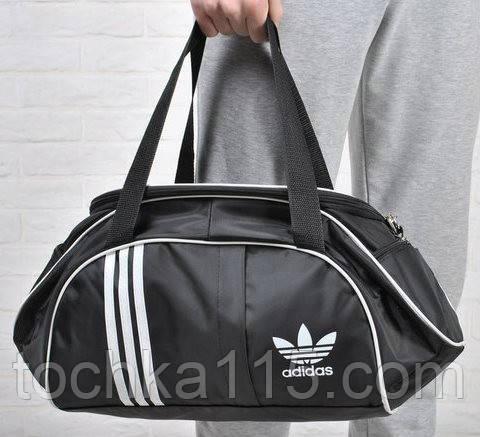 Спортивная сумка для тренировок Adidas, фитнес сумка черный/белый  реплика