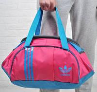 Спортивная сумка для тренировок Adidas, фитнес сумка розовый/голубой  реплика