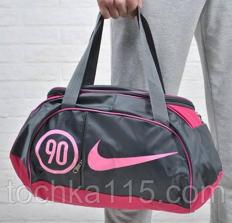 Спортивная сумка для тренировок Adidas, фитнес сумка серый/розовый  реплика