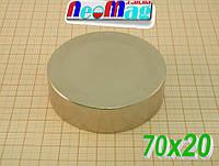 Неодимовый магнит в форме диска 70х20, 140кг, N42,۩۩НИЗКИЕ ЦЕНЫ⇔ОТЛИЧНОЕ КАЧЕСТВО۩۩