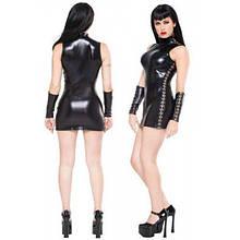 РАСПРОДАЖА! Виниловое мини-платье черного цвета