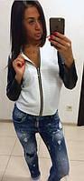 Женская кофта куртка бомбер белая Vera   (код 083)
