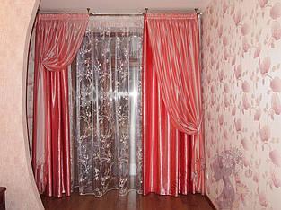 шторы в спальню. Комплект тюль, портьеры и декоративные шторы на лентах-подхватах.