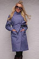 Красивый женский плащ сине-серого и синего оттенка от 42 до 52