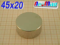 ✺РЕАЛЬНО N42✺ Польский неодимовый магнит, супермагнит, диск 45х20мм, сила 80 кг,  N42 ☻ПОДБОР 100%☻