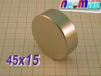 РЕАЛЬНО N42 Польский неодимовый магнит 45х15, сила 50 кг, ПОДБОР 100%, ГАРАНТИЯ