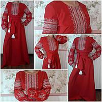 """Красное длинное платье с вышивкой """"Светлана"""", габардин, 40-52 р-ры, 1550\1350 (цена за 1 шт. + 200 гр.)"""