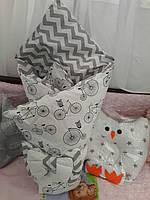 Конверт-одеяло на выписку со съемным синтепоном весна-лето
