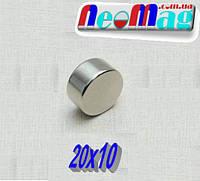 Неодимовый супер магнит 20 х 10 мм (13 кг) N42.۞Польша۞ВСЕ РАЗМЕРЫ۞