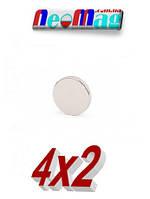 Магнит диск 4х2 мм, неодимовый супер магнит 0,5 кг, N42●Польша●ВСЕ РАЗМЕРЫ●, фото 1