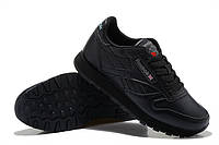 Кроссовки Reebok Classic Leather Black Черные женские реплика