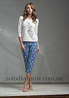 Піжама ELLEN жіноча з бриджами Синьо-білі Квіти 053/001