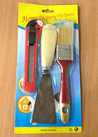 Малярный набор (шпатель, кисть, нож канцелярский)