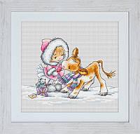 """Набор для вышивания """"Девочка с теленком"""""""