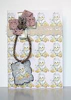 Набор для открытки с мишкой и розовой лентой
