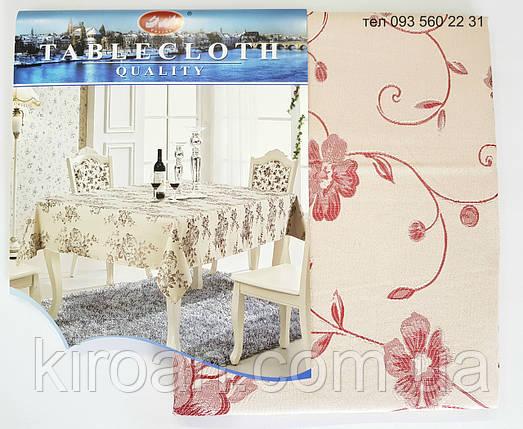 Тканевая скатерть 100х145см Цветы (цвет бежевый с бордовым), фото 2