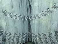 Тюль с вышивкой и люрексовой нитью на фатиновой основе, фото 1