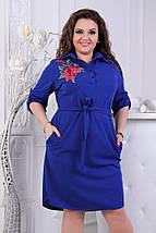 """Стильное платье-рубашка прямого кроя """"FELICITA"""" с вышивкой и карманами (большие размеры), фото 2"""