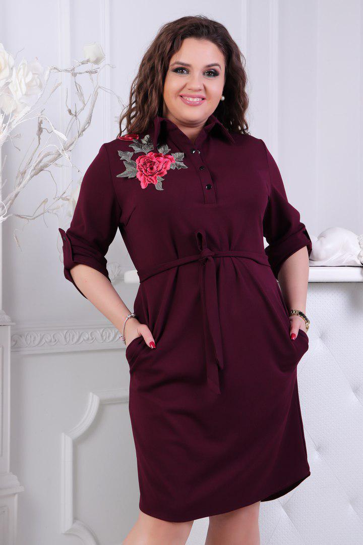 """Стильное платье-рубашка прямого кроя """"FELICITA"""" с вышивкой и карманами (большие размеры)"""