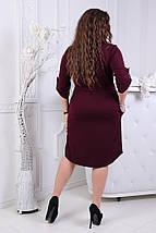 """Стильное платье-рубашка прямого кроя """"FELICITA"""" с вышивкой и карманами (большие размеры), фото 3"""