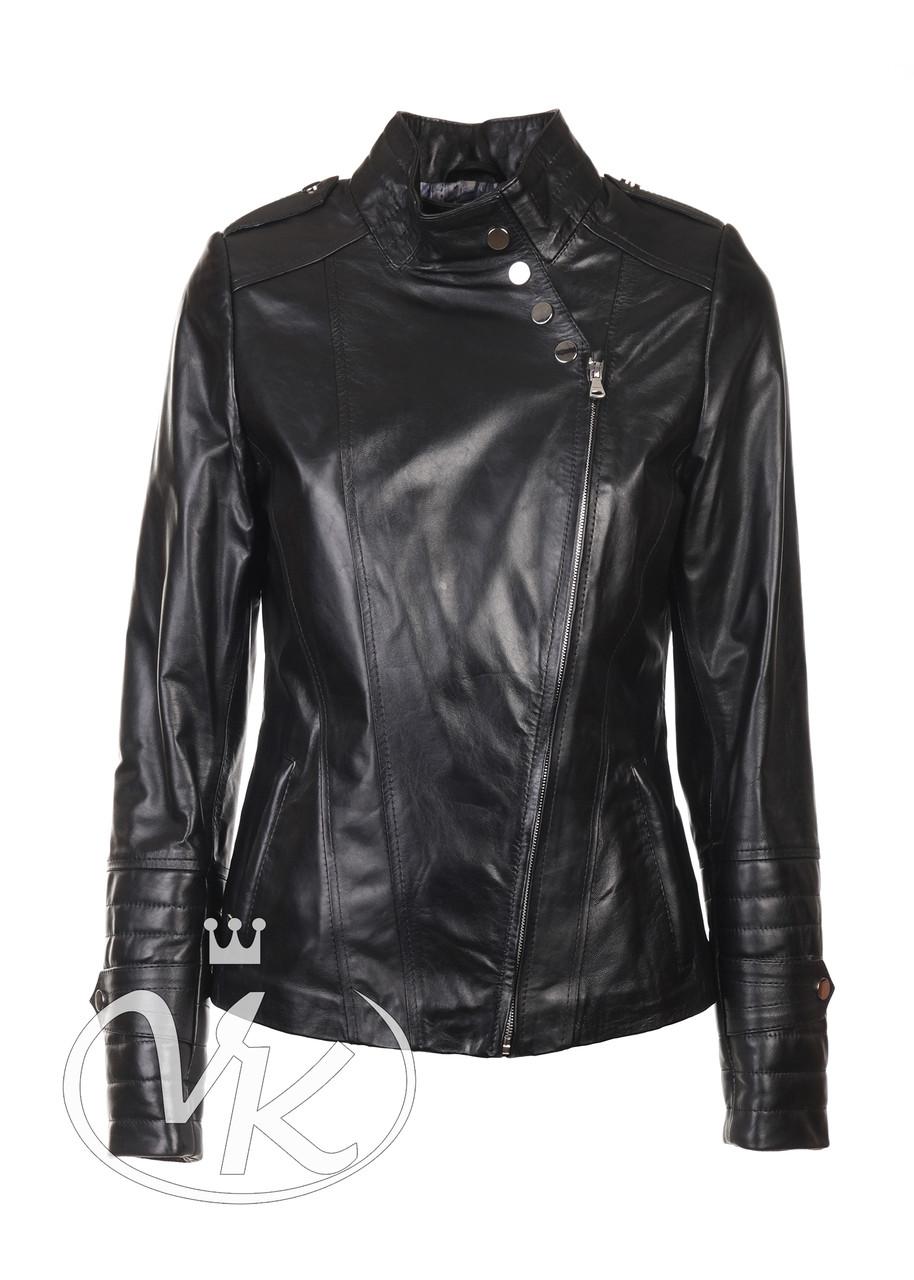 Кожаная женская куртка косуха черная (Арт. CHL201)