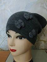 Молодежная женская шапка RENATA ТМ Камея, шерстяная, цвет графит