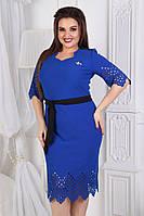 """Нарядное облегающее платье """"TRIAL"""" с брошью и перфорацией (большие размеры)"""