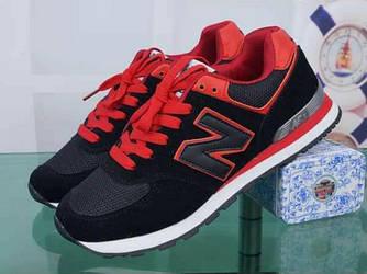 Кроссовки New Balance 574 Black Red Черные женские реплика