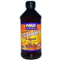 L- Карнитин жидкий, Now Foods, Тройная сила, 3000 мг,  473 мл