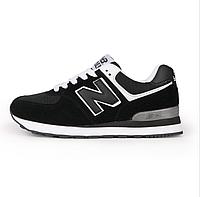 Кроссовки New Balance 574 Black White Черные женские реплика