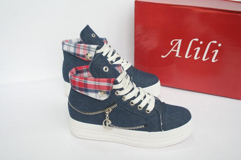 """Кроссовки, кеды, мокасины, сникерсы женские джинс на платформе """"Alili"""", спортивная обувь"""
