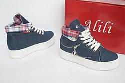 """Кроссовки, кеды, мокасины, сникерсы женские джинс на платформе """"Alili"""", спортивная обувь, фото 2"""