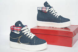 """Кроссовки, кеды, мокасины, сникерсы женские джинс на платформе """"Alili"""", спортивная обувь, фото 3"""