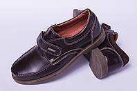 Подростковые туфлина липучке кожаные, детская кожаная обувь от производителя модель ДЖ3749