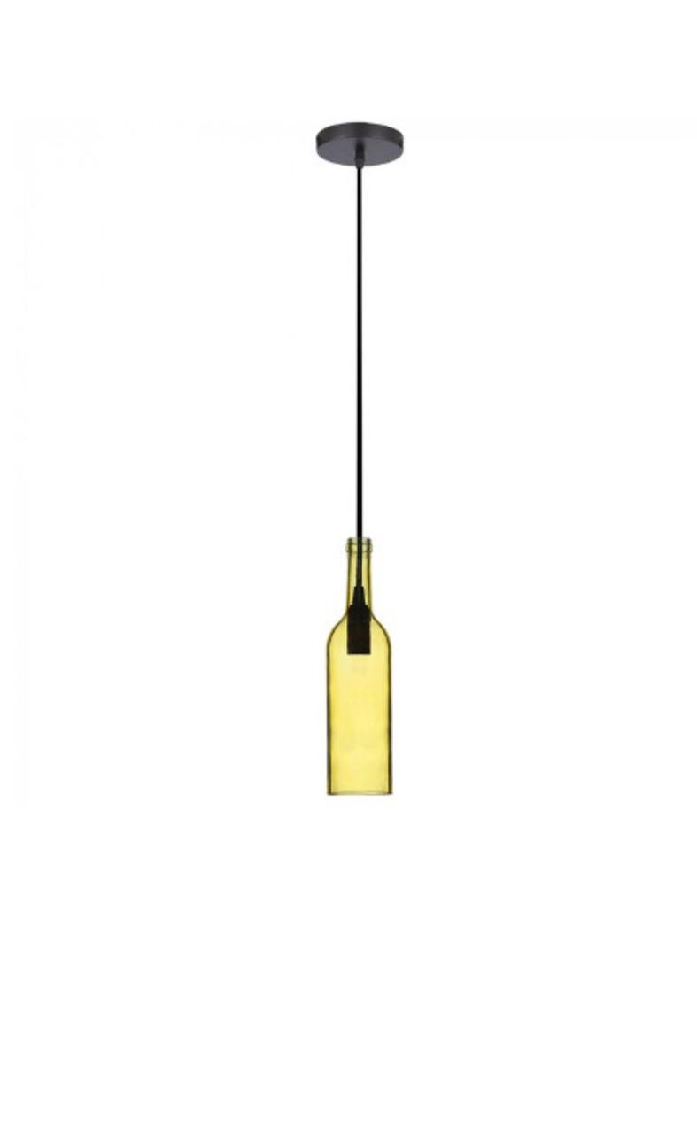 Светильник подвесной Стеклянная Бутылка Цвет-Желтый