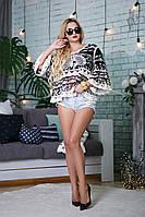 Ажурная блуза Элиз с рукавом 3/4 из коттона и кружева