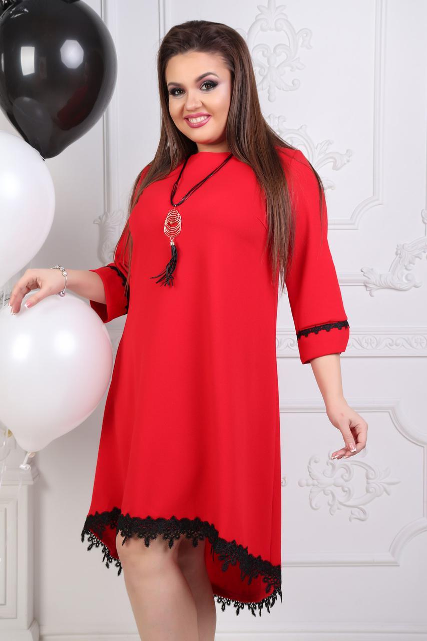 """Расклешенное асимметричное платье """"KASKAD"""" с кружевом (большие размеры)"""