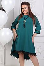 """Расклешенное асимметричное платье """"KASKAD"""" с кружевом (большие размеры), фото 3"""