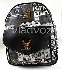 Молодежный модный рюкзак подросток девочка черный с белым значки
