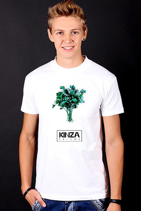 """Біла футболка чоловіча """"Kinza"""" з принтом спортивна бавовна"""