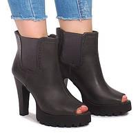 Женские ботинки коричневые с открытым носком