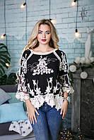 Ажурная блуза Элин с рукавом 3/4 из коттона и кружева, фото 1