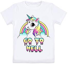 Детская футболка Unicorn - Go To Hell (белая)