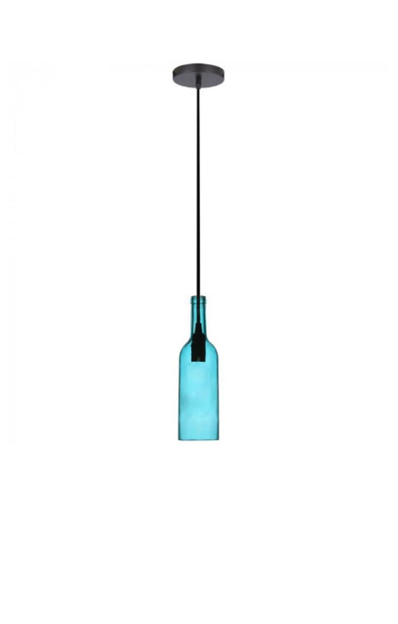 Светильник подвесной Стеклянная Бутылка Цвет-Голубой