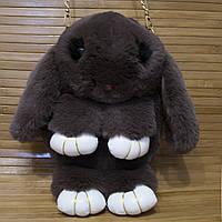 """Меховая сумка-рюкзак """"Заяц"""" 15 Цветов Шоколад"""