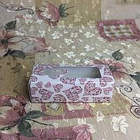 Коробка для макаронс сердца окошко бабочка 140х55х45мм