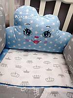 """Комплект в детскую кроватку """"Облачко для мальчика"""". Бортик на 4 стороны и постельное белье"""