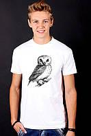 Белая футболка мужская с Совой Owl с принтом спортивная