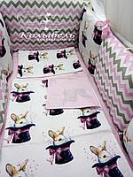 """Комплект в детскую кроватку """"Розовые зайчики"""". Бортик на 4 стороны и постельное"""