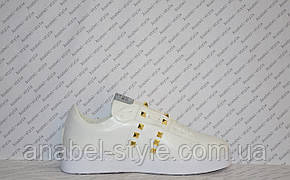 Кеды женские белого цвета на шнуровочке украшены шипами эко-кожа Код 1362, фото 2
